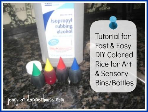 DIY Colored Rice Sensory Bin @dapperhouse #montessori #sensory