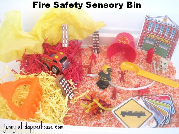 fire safety sensory bin @dapperhouse Etsy