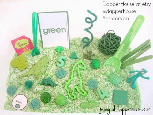 #sensorybin #autism #gifted @dapperhouse green variety early childhood teaching