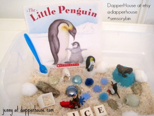 #sensorybin #autism #gifted @dapperhouse penguin arctic early childhood learning theme