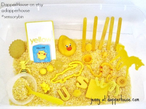 #sensorybin #autism #gifted @dapperhouse #yellow early childhood education