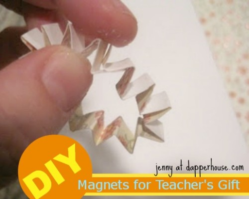#DIY #paper #scrapbook #floral #buttons #magnet #fridge #gift #hostess #teacher @dapperhouse 5