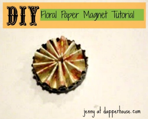 #DIY #paper #scrapbook #floral #buttons #magnet #fridge #gift #hostess #teacher @dapperhouse 8