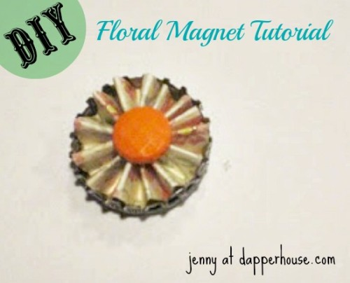 #DIY #paper #scrapbook #floral #buttons #magnet #fridge #gift #hostess #teacher @dapperhouse 9