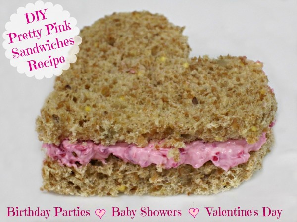 DIY Make these valentines day pink sandwich spread girls party birthday baby shower recipe @dapperhouse