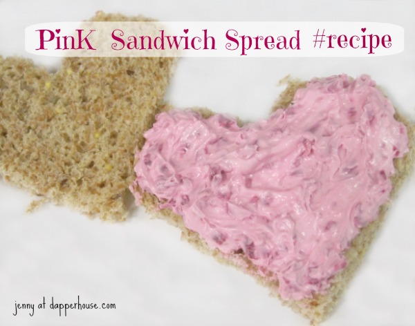 Pink Sandwich Spread Recipe Valentine's Day Baby Shower Birthday Party @dapperhouse #recipe heart