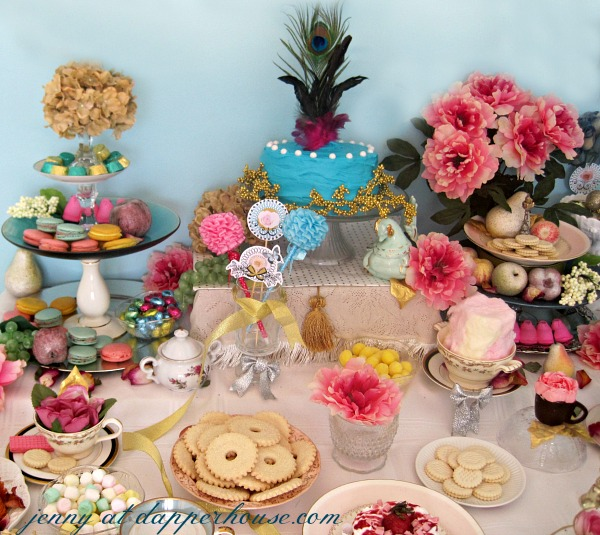 DIY Birthday Party inspired by  Marie Antoinette Tea Time with Desserts and Cake@Dapperhouse
