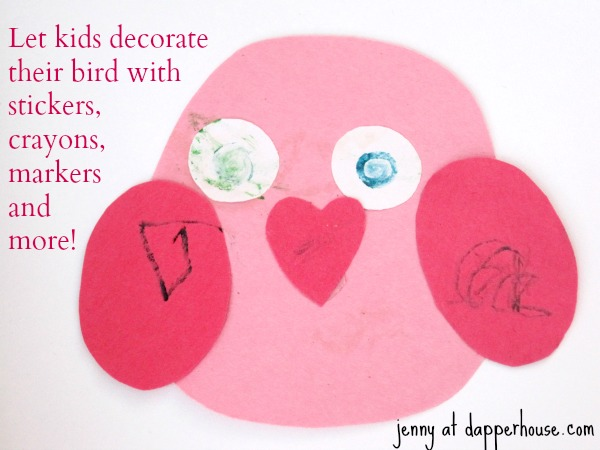 Easy & fast Valentine's Day Bird Paper Craft DIY Tutorial free Printables @dapperhouse