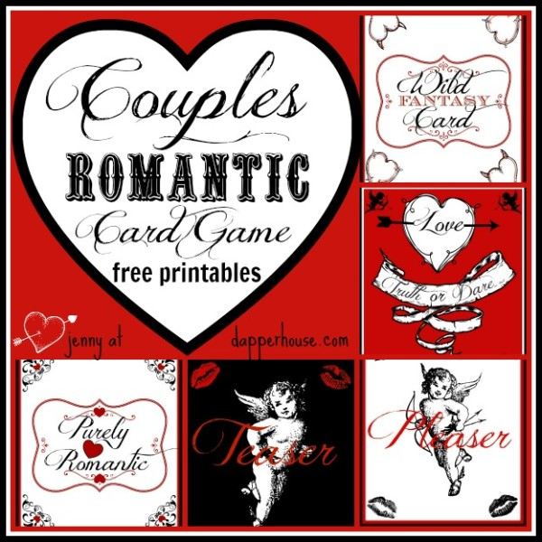 Valentines Day Romantic Couples Game Cards free printable @dapperhouse DIY Customize