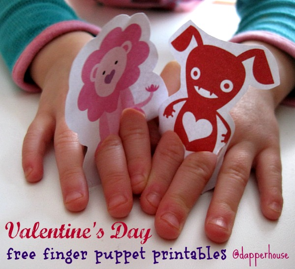 Valentines Day finger puppet kids activity free printable @dapperhouse