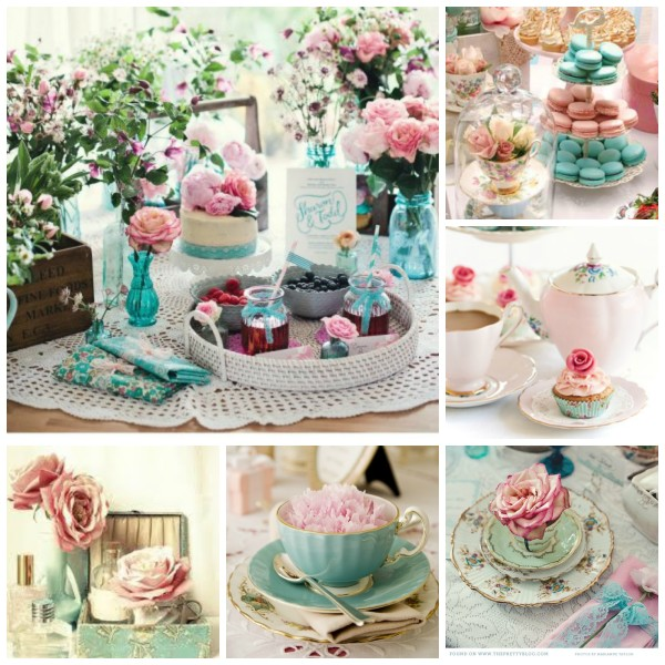 decorating for a turquoise tea party Marie Antoinette Inspired for Daughter Birthday @dapperhouse