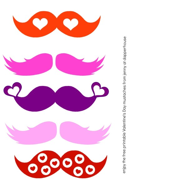 photograph relating to Printable Mustaches known as Pleasurable Totally free Valentines Working day Mustache Printables for Youngsters