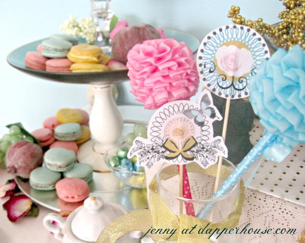 marie antoinette inspired printables free for cupcake toppers or tea party decor @dapperhouse