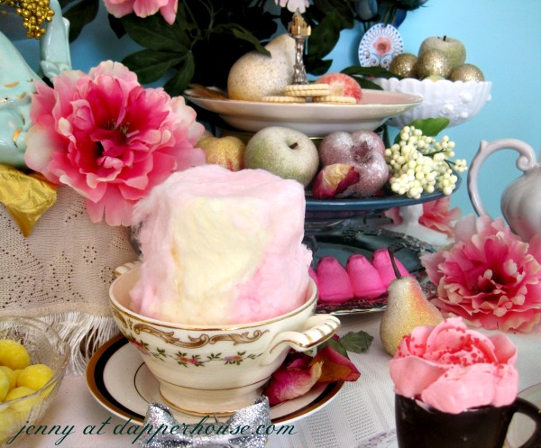 using cotton candy and peeps to recreate a fancy afternoon tea party inspired by Marie Antoinette chic @dapperhouse