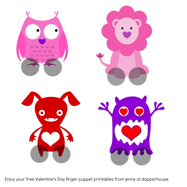 valentine finger puppets free printables @dapperhouse