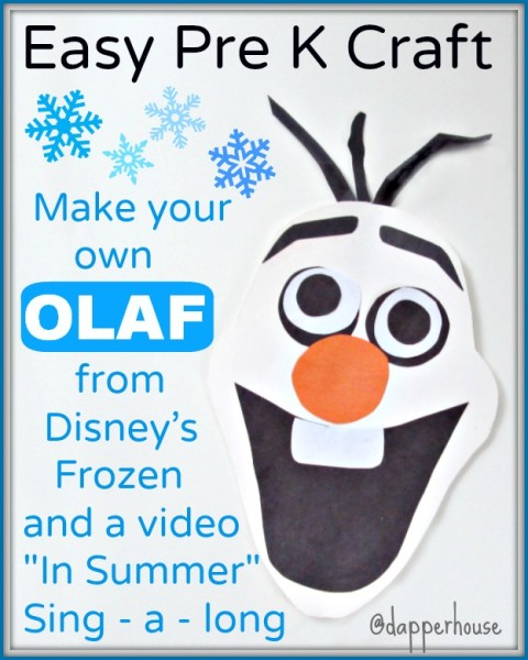Craft and video Sing along for kids from Disney's Frozen @