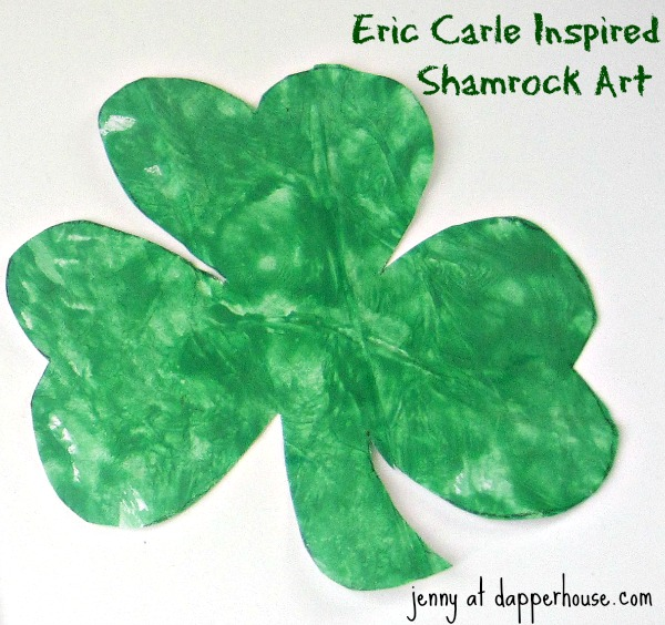 eric carle inspired shamrock art for St. Patrick's Day craft activity @dapperhouse