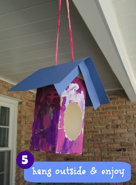 DIY Easy kids craft DIY bird house from a milk carton @dapperhouse