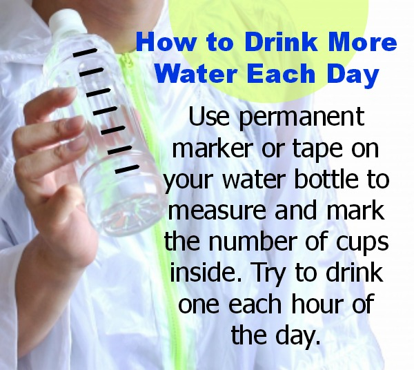 How to drink more water each day by measuring on your water bottle and drinking each hour @dapperhouse