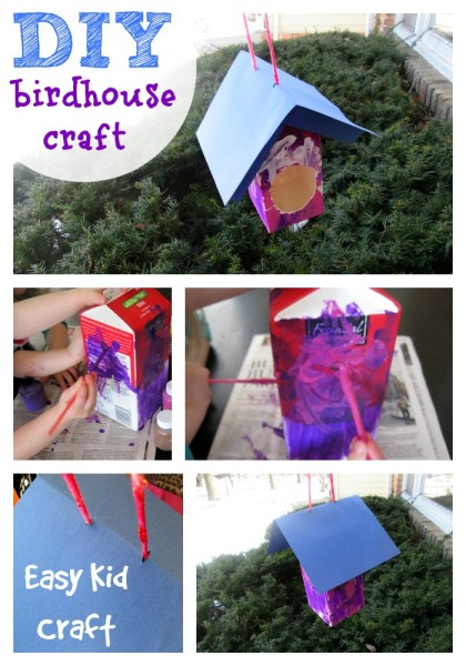How to make a DIY Birdhouse from a milk carton Kids Crafts @dapperhouse