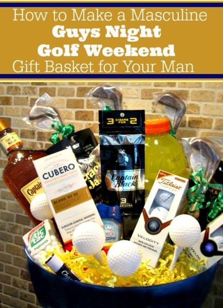 How to make a masculine guys night golf weekend gift basket for your man @dapperhouse