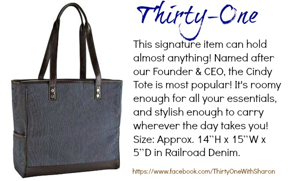 Thirty-One Cindy Tote in Railroad Denim #Maymamas Giveaway Hop @dapperhouse