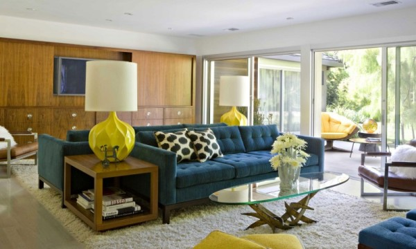 Enchanting-Living-Room-Design-Inside-the-Brentwood-Residence-with-Glass-Coffee-Table-and-Modern-Blue-Sofa