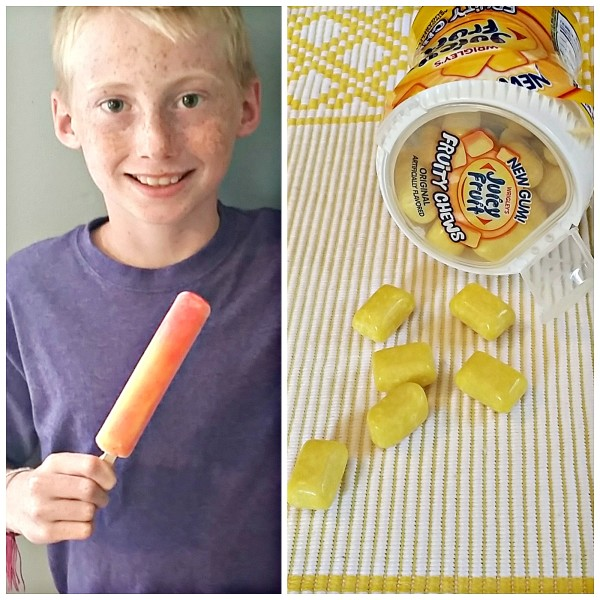 My son thinks that Juicy Fruit Gum tastes like a cool pineapple and mango popsicle! What do YOU think the mystery fruit flavors could be #JuicyFruitFunSide #cbias #shop @dapperhouse @walmart