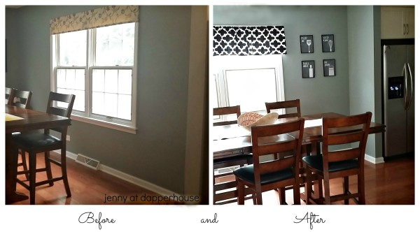 Before and After pics of Kitchen Eat in Nook Redo Home Decor Makeover from Jenny at dapperhouse