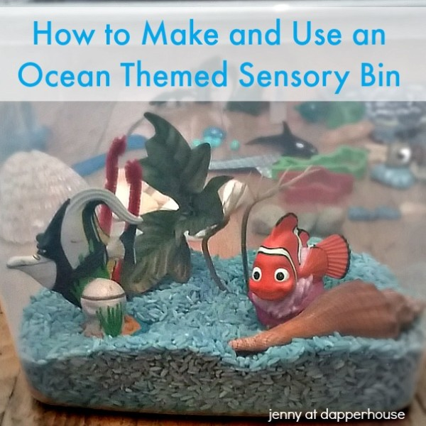 How to Create and then use an Ocean Themed Sensory bin for early childhood learning 1 @dapperhouse