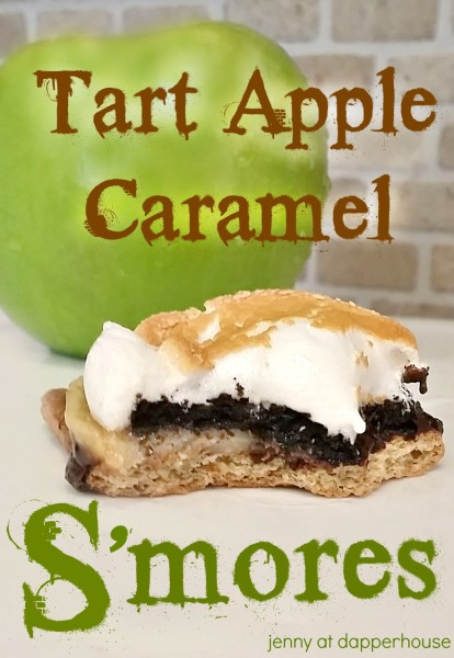 Tart Apple and Caramel S'mores recipe @dapperhouse #gourmet #dessert National Smores Day #celebration