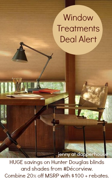 Amazing savings on Hunter Douglas blinds and shades from #Décorview. Combine 20 off MSRP with Hunter Douglas rebates. #Decorview #Ad @dapperhouse DEAL ALERT!