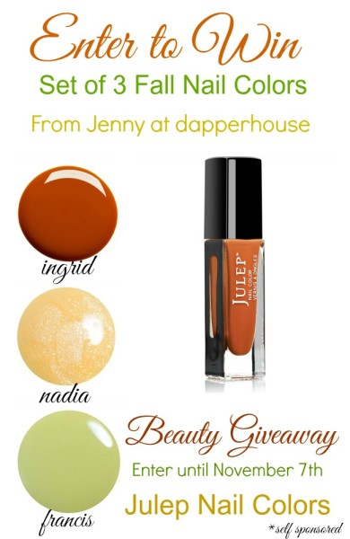 Enter to WIN 3 Fall Favorite Nail Colors from Julep and Jenny at dapperhouse #giveaway #fall