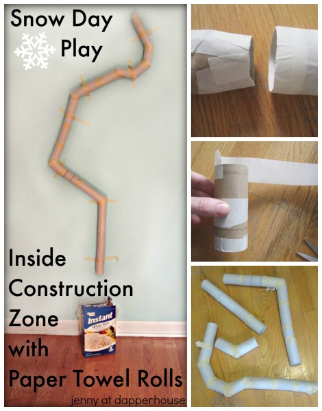 Snow Day Indoor Construction Play with cardboard paper towel rolls reuse @dapperhouse