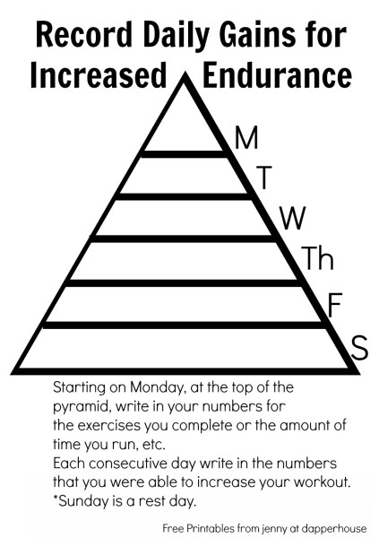 Record Daily Gains for Increased Endurance Free Printable for Daily and Weekly Fitness Goals jenny at dapperhouse