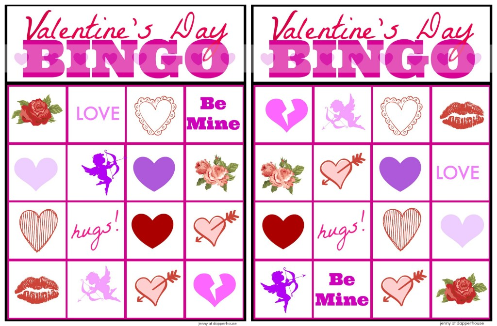 Free Printable Valentines Day BINGO Cards Game – Valentine Bingo Card