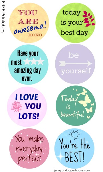 FREE breakfast Printables from jenny at dapperhouse Stick these in pancakes, omelettes, oatmeal and more to give someone special an inspirational day