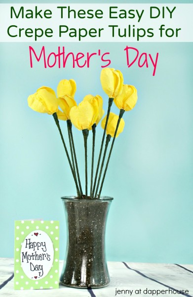 DIY Make these easy crepe paper tulips for mother's day - jenny at dapperhouse