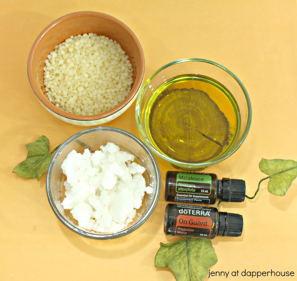 DIY natural lip balm with essential oils to fight clods and infections - recipe from jenny at dapperhouse