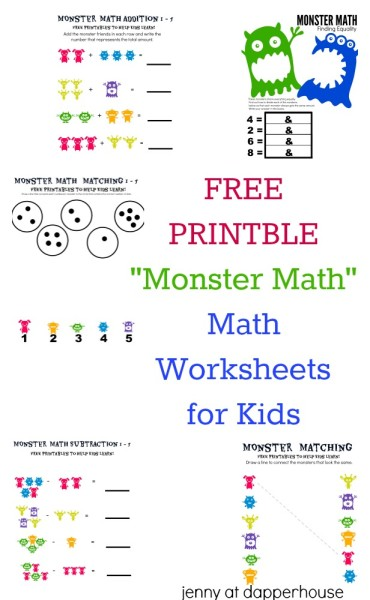 monster math worksheets monster best free printable worksheets. Black Bedroom Furniture Sets. Home Design Ideas