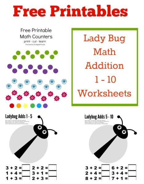 Free Printables Lady Bug Math Addition 1 - 10 Worksheets from jenny at dapperhouse