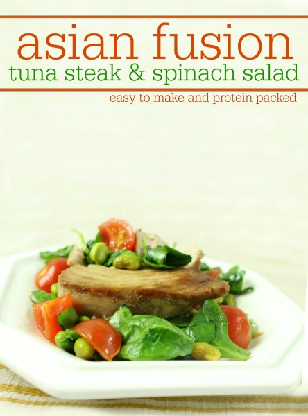asian fusion tuna steak and spinach salad with edamame - easy to make and protein packed delicious meal - jenny at dapperhouse