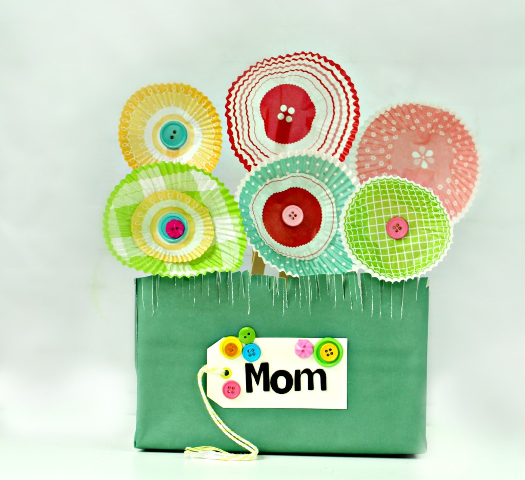 paper flower garden gift from cupcake wrappers
