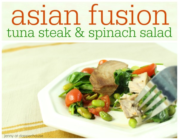 recipe for this easy to make packed with with nutrition tuna steak salad - jenny at dapperhouse