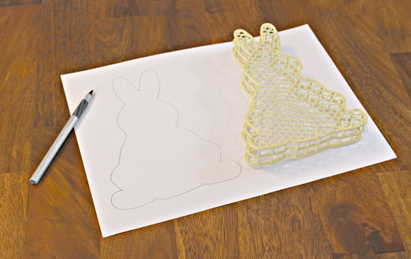 use a template on scrapbook paper to make a bunny banner - jenny at dapperhouse