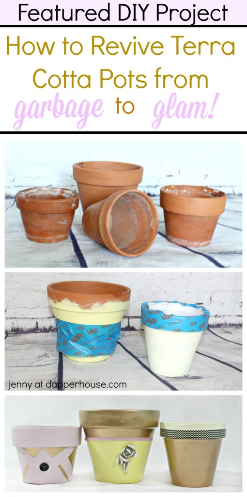 Featured DIY Project - How to Revive Terra Cotta Pots from Garbage to Galm in a few easy steps - jenny at dapperhouse