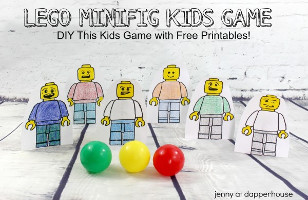 Lego Minifig KIds Game DIY this kids game with free printables at jenny at dapperhouse #lego #DIY #Free #printables