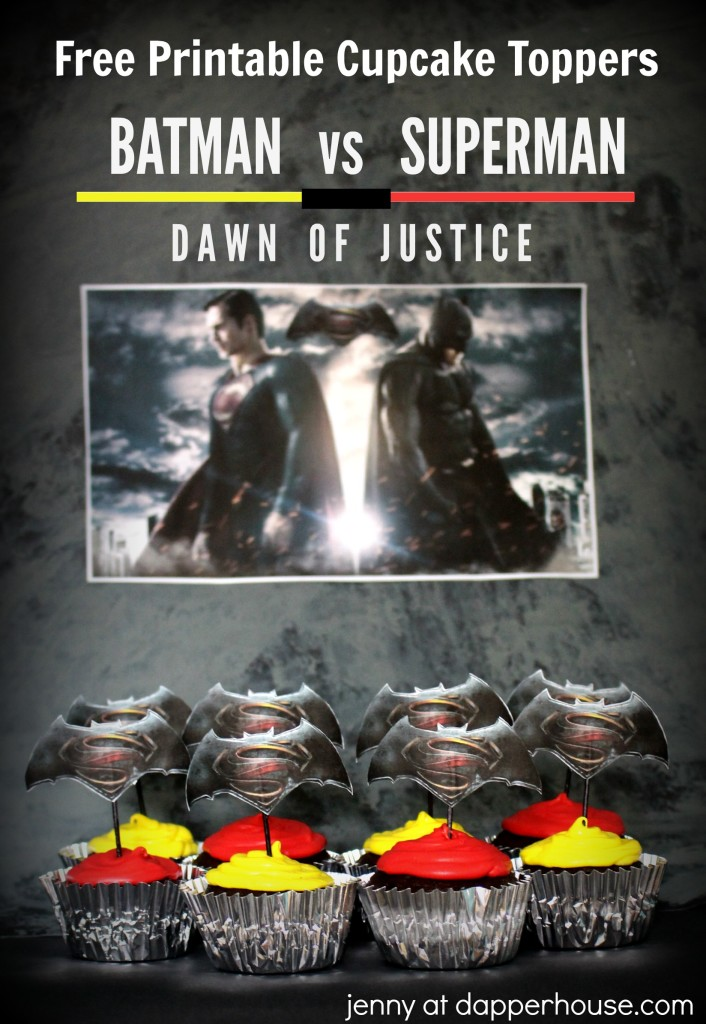 Batman vs Superman Dawn of Justice Cupcake Toppers - jenny at dapperhouse FREE PRINTABLES
