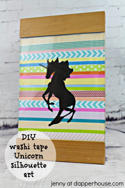 DIY washi tape unicorn silhouette art - jenny at dapperhouse #crafts