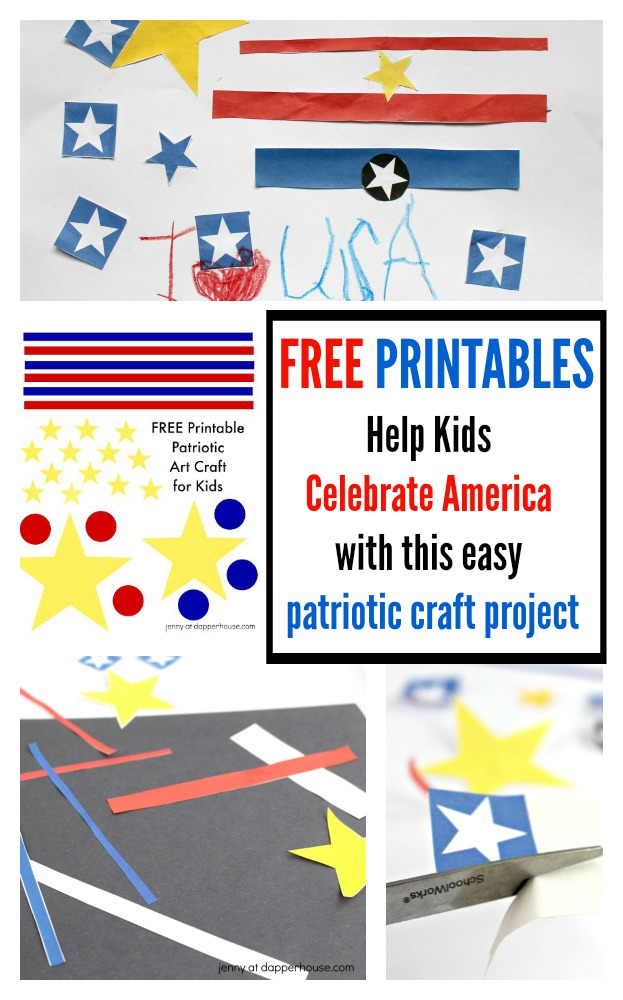 FREE Patriotic PRINTABLES for easy kids craft to celebrate America - jenny at dapperhouse